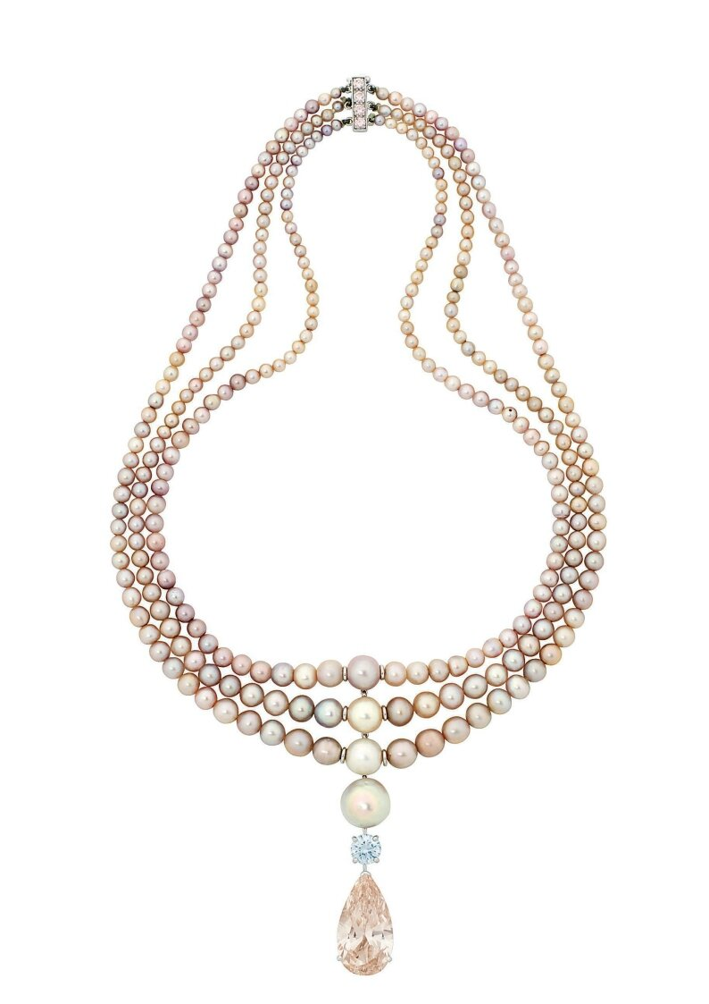 A magnificent coloured diamond and natural pearl necklace, by Cartier
