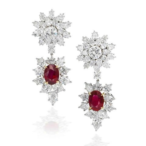 An important pair of ruby and diamond pendent earrings