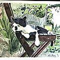 Relaxe. aquarelle sur papier arches encadrée, 50 x 40.