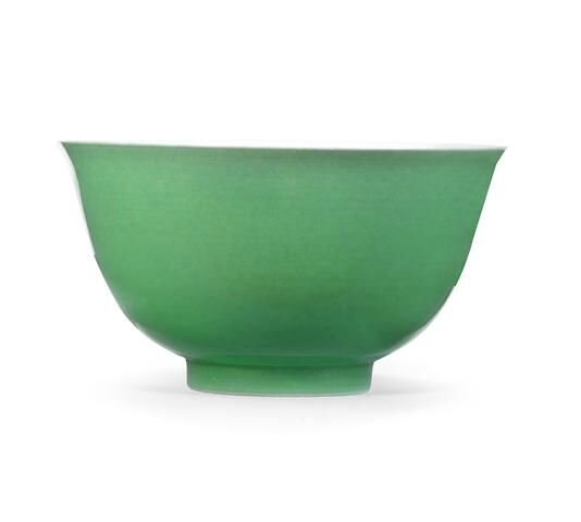 A green-glazed bowl, Yongzheng six-character mark and of the period (1723-1735)