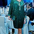Lina samman wearing an emerald green hand-embroidered andrew gn dress, at the grazia awards night, dubai