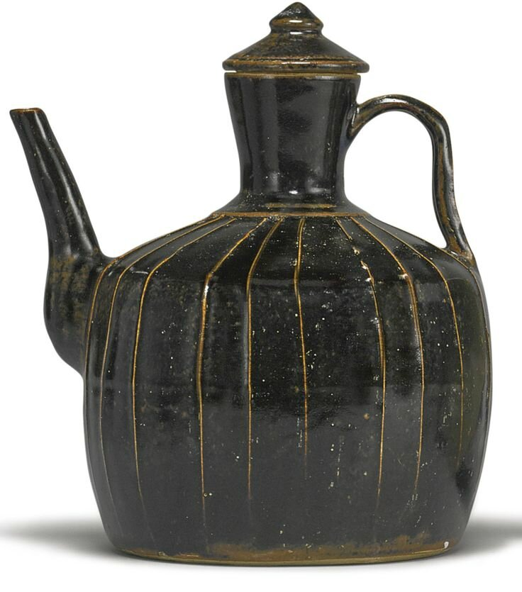 A black-glazed ribbed ewer, Song-Jin dynasty