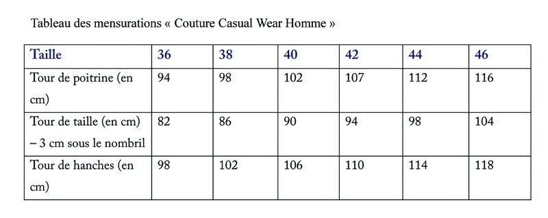mensurations casual wear