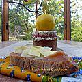 Tartine au caramel de coing, copeaux de cantal entre-deux