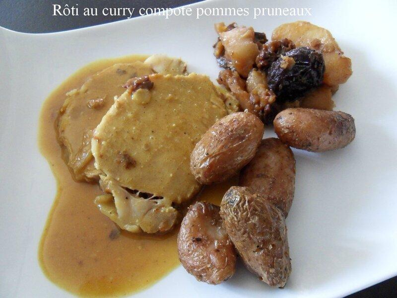 roti au curry compoté pommes pruneaux