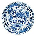 A blue and white dish for the portuguese market. ming dynasty, wanli period