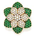 18 Karat Gold, Diamond and Emerald Brooch, Van Cleef & Arpels, France