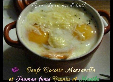 """ღ """" Miam """" œufs cocotte Mozzarella & Saumon fumé au cumin et Menthe"""