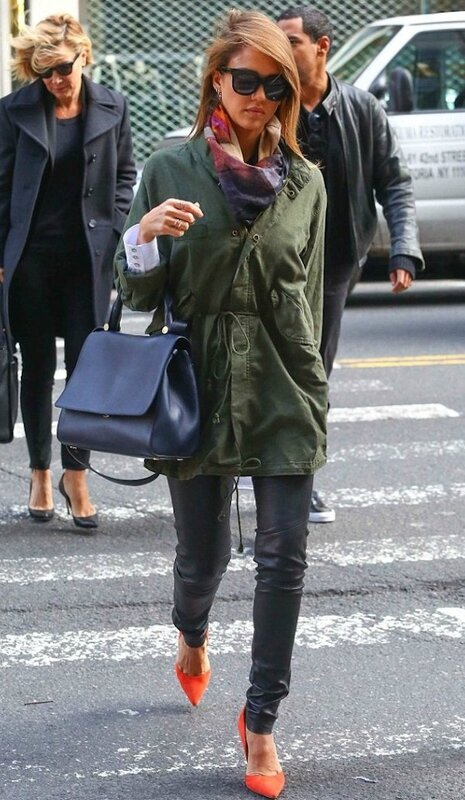 jessica-alba-new-york-city-the-great-fishtail-military-green-parka-orange-kurt-geiger-gold-tone-heel-pumps-2