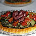 Tarte fine au pesto rosso, courgette, poivron et bacon