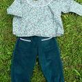 Pantalon et blouse japonisants en taille 3 ans