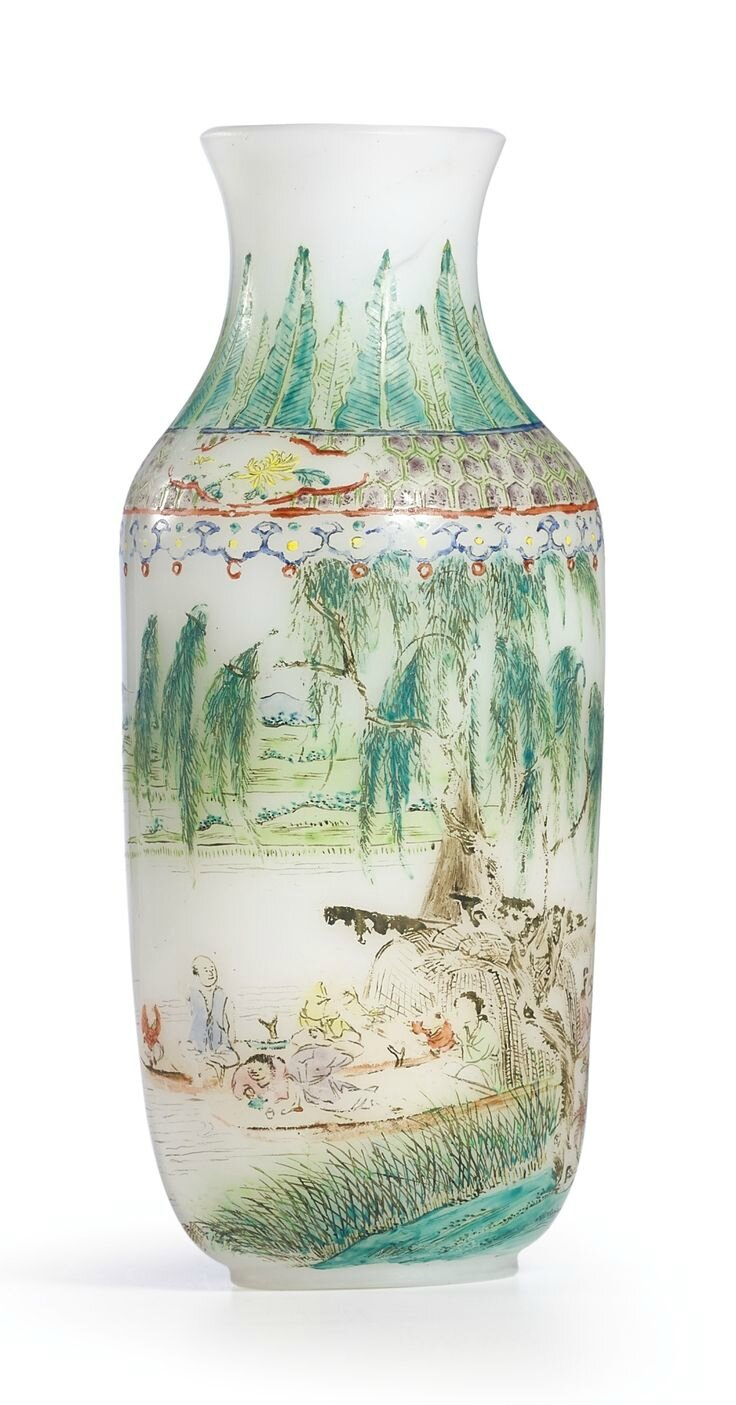 An enamelled glass 'landscape' vase, Qing dynasty, 18th century