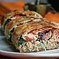 Pastilla au saumon et épinards (façonnage en bûche)