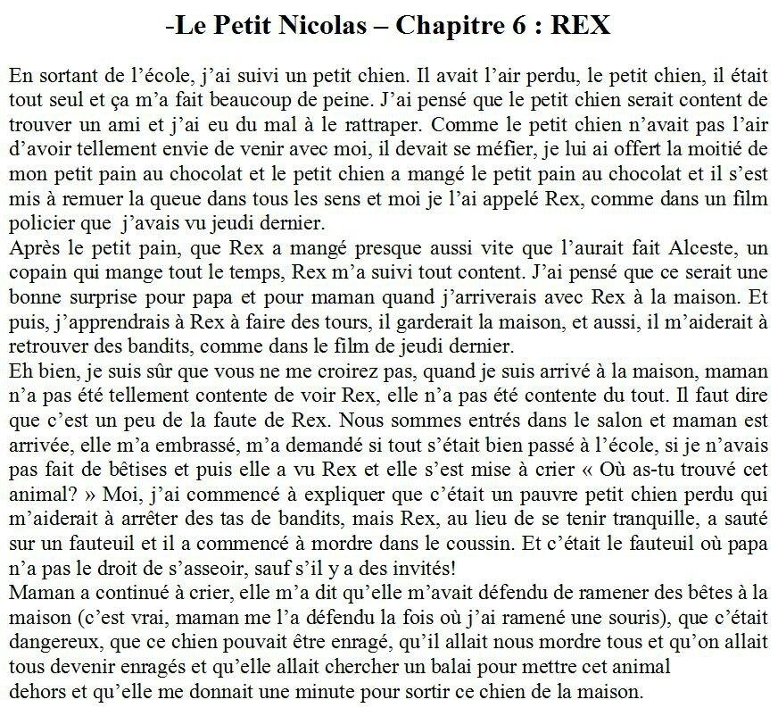 lecture d un texte le petit nicolas chapitre 6 rex a 237 da compr 233 hension orale et
