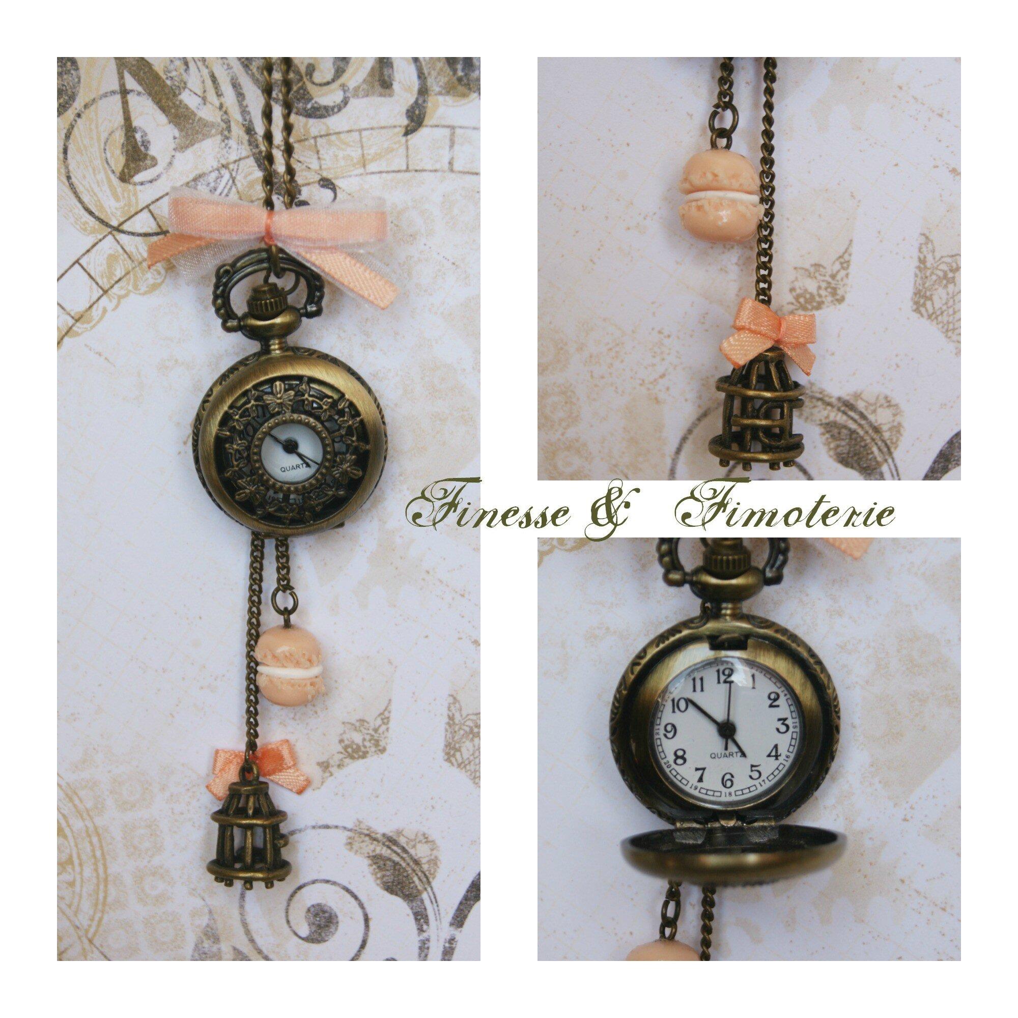 Petite horloge bronze saumon thème cage