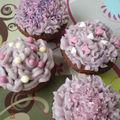 Cupcakes framboises et violettes