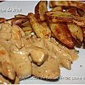 Aiguillettes de poulet, frites sauce moutardée