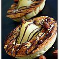 Tartelette automnale : poires, noisettes, éclats de chocolat