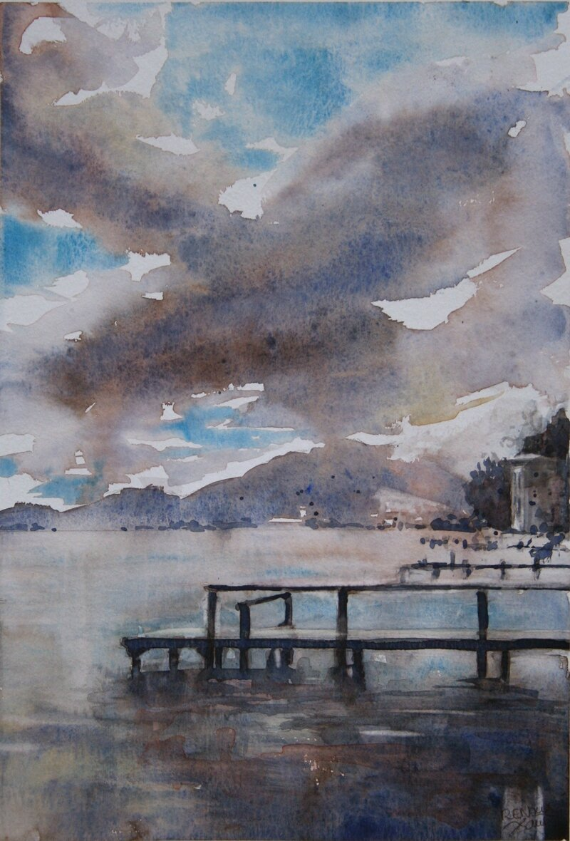 aquarelle du lac d 39 annecy ciel charg photo de annecy la vieille ville et le lac d 39 annecy. Black Bedroom Furniture Sets. Home Design Ideas