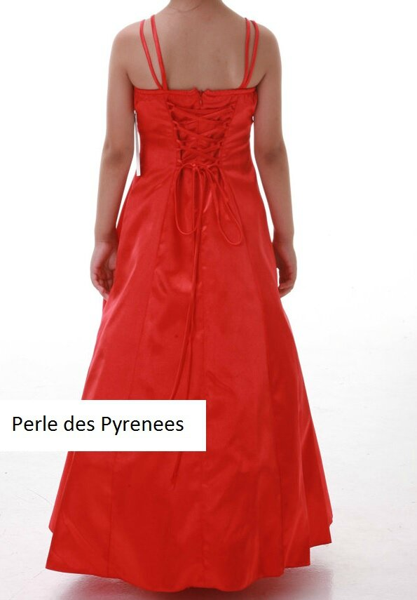 robe de soir e fille taille 5 6 rouge perle des pyr n es. Black Bedroom Furniture Sets. Home Design Ideas
