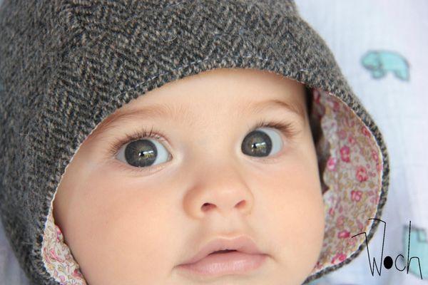 Woch bébé béguin laine et Liberty rose 1