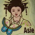 Gâteau continent Asie Geisha détail