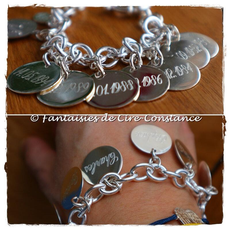 Bracelet bouée argent massif médailles 20 mm plates et Vierge coeur croix-2