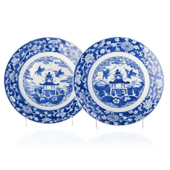 Pair of blue and white 'herons and pagoda' plates, China, Kangxi period