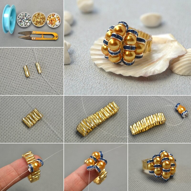 1080-Pandahall-Tutorial-on-Pearl-Bead-Flower-Ring-with-Glass-Twist-Bugles-Seed-Beads