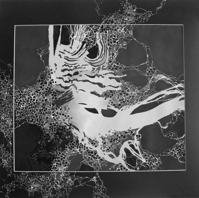 2015- Série noire-Racine blanche- Huile sur papier, sous verre 70x70cm