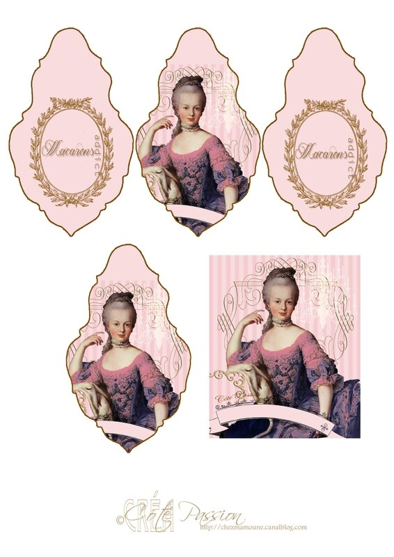 COTE PASSION Free printable Marie Antoinette Pampille