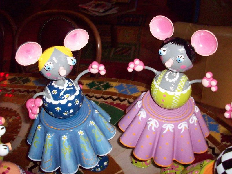 souris rose et bleue