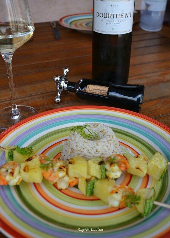 Brochettes crevettes ananas3