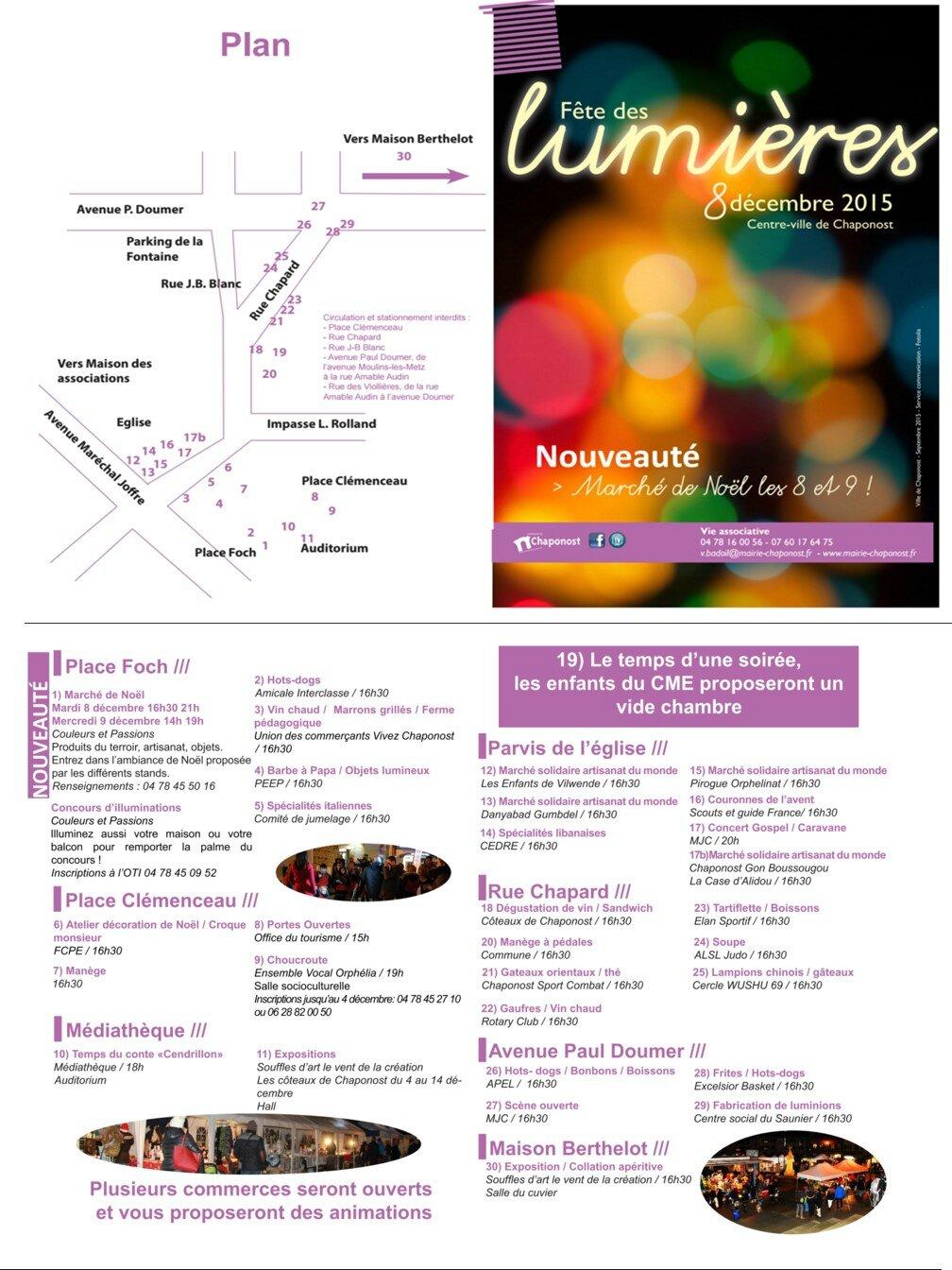 Programme des festivités du 8 décembre 2015 à Chaponost