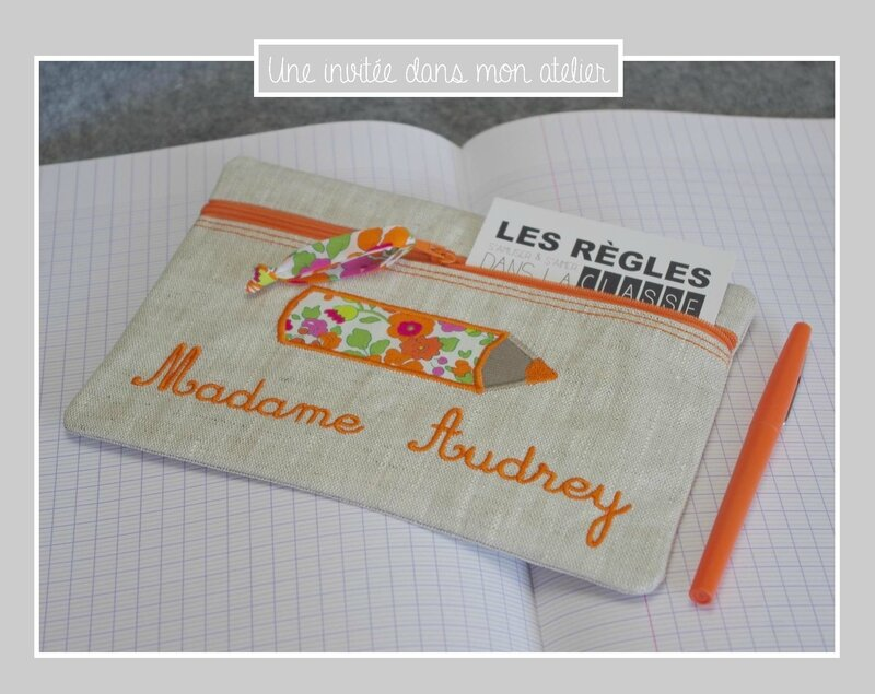 trousse-lin enduit-cadeau-institutrice-Liberty-betsy orange