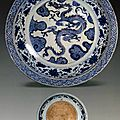 Charger, porcelain painted in underglaze blue with dragon and clouds, China, Yuan dynasty. National Museum of Iran.