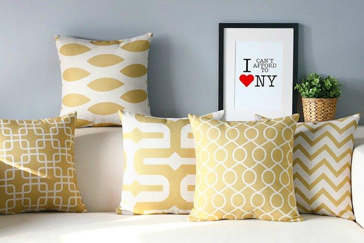 Simple-Nordic-Geometry-Pillow-s-Elegant-font-b-Yellow-b-font-Pillow-font-b-Cushion-b