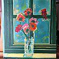 Huile su toile - 45 x 37 - bouquet de fleurs