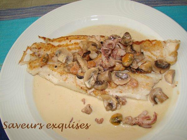 Flet de sole, sauce aux fruits de mer et champignons