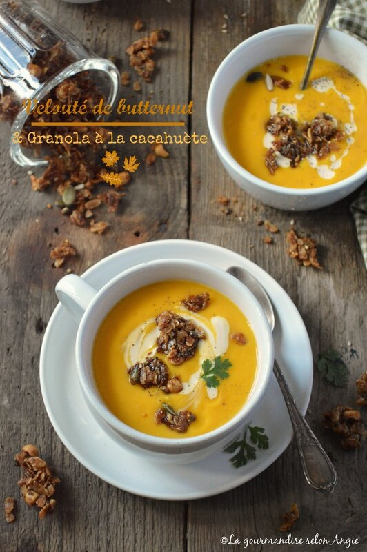 velouté butternut et granola cacahuète vegan sans gluten