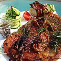 Tranche de jambon mariné à la sauce teriyaki et aux herbes de provence