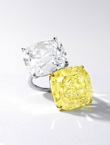 Impressive Fancy Intense Yellow Diamond and Diamond Ring