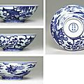 A very rare and fine blue and white bowl, xuande six-character mark in underglaze blue within a double circle and of the period