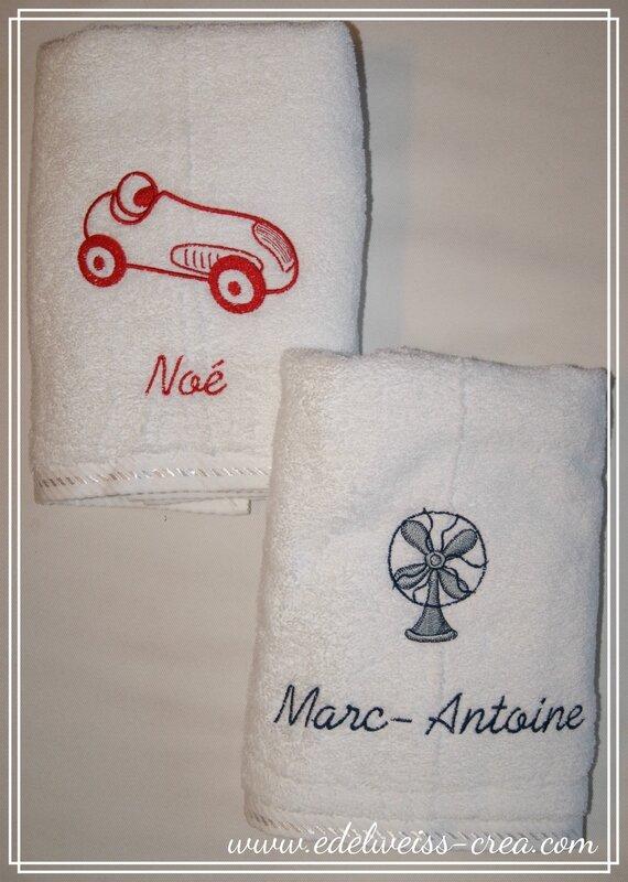 Serviettes de toilette brodées prénom et petit motif