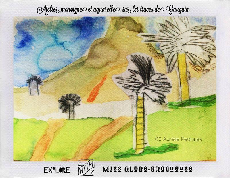 atelier gauguin enfant-paysage-aquarelle-monotype