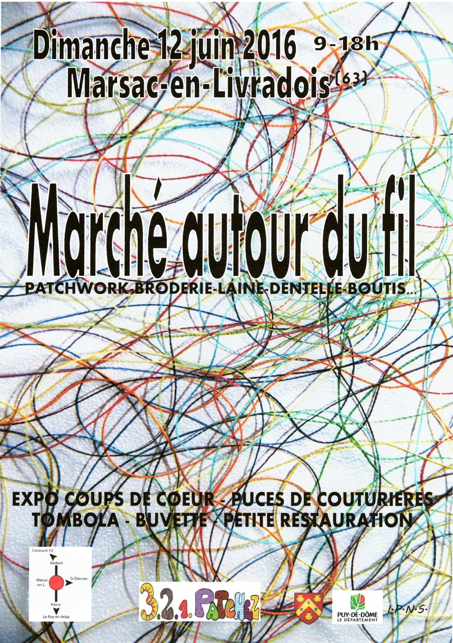"""2016- """"Marché autour du fil et Puces des couturières"""" avec exposition """"Coups de coeur"""" -"""