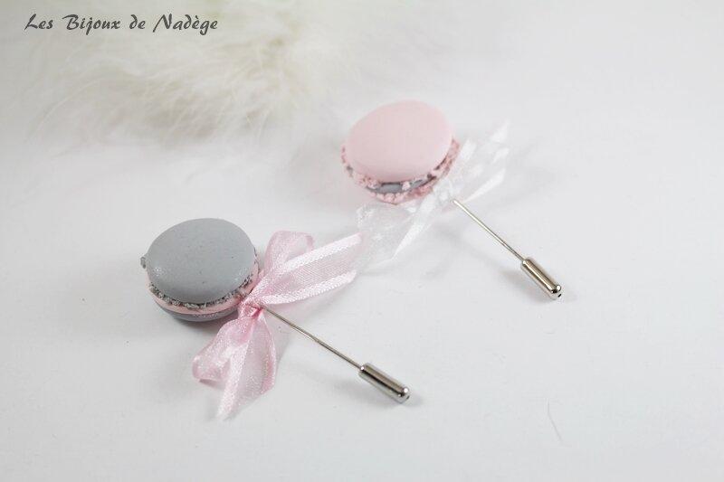 boutonnière macaron rose et gris