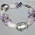 creation bracelet fantaisie-quartz rose amethyste cristal de roc
