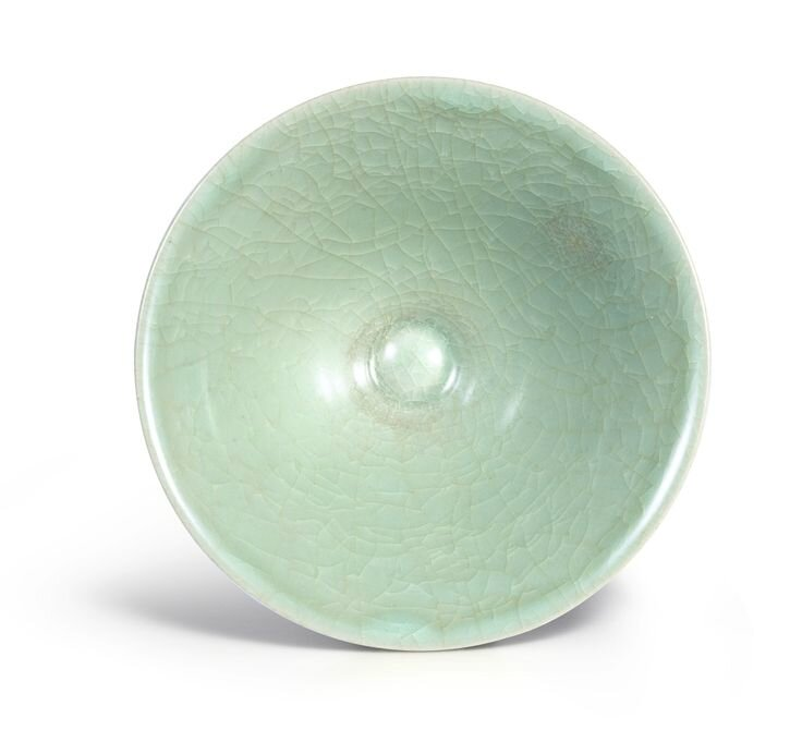 A 'Longquan' celadon 'Ice'-crackled conical bowl, Southern Song Dynasty