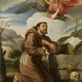 cole ITALIENNE du XVIIe sicle, entourage de Francesco ALBANI - Saint Franois et la vision de la fiole d'eau transpare